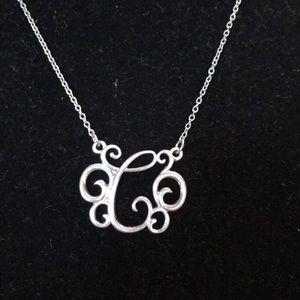 Jewelry - Vintage C monogram fancy scroll letter necklace
